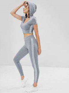 Hooded Cropped Top And Pants Sweat Suit - Gray Cloud L