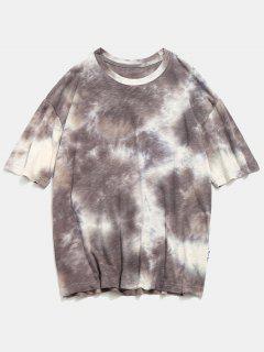 Zurück Brief Tie Dye Textur T-Shirt - Grau 2xl