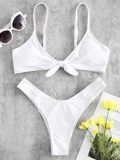 Niedrige Taille Vorder Knoten Bikini - Weiß S