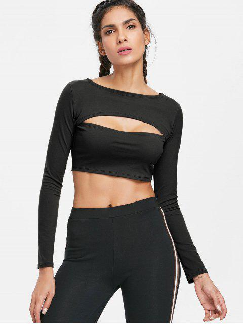 womens Long Sleeve Cut Out Gym Cropped T-Shirt - BLACK L Mobile