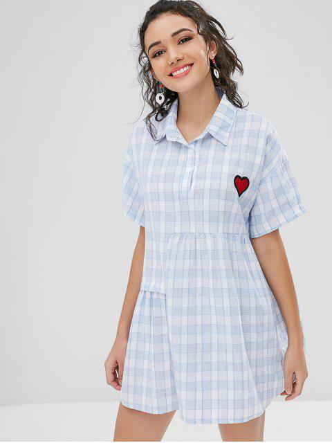 best Checked Smock Dress - LIGHT BLUE ONE SIZE Mobile