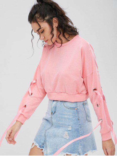 trendy Cropped Criss Cross Ribbons Sweatshirt - FLAMINGO PINK M Mobile