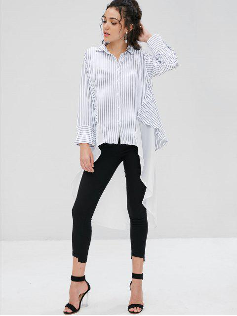 unique Asymmetrical Stripes Longline Shirt - WHITE S Mobile