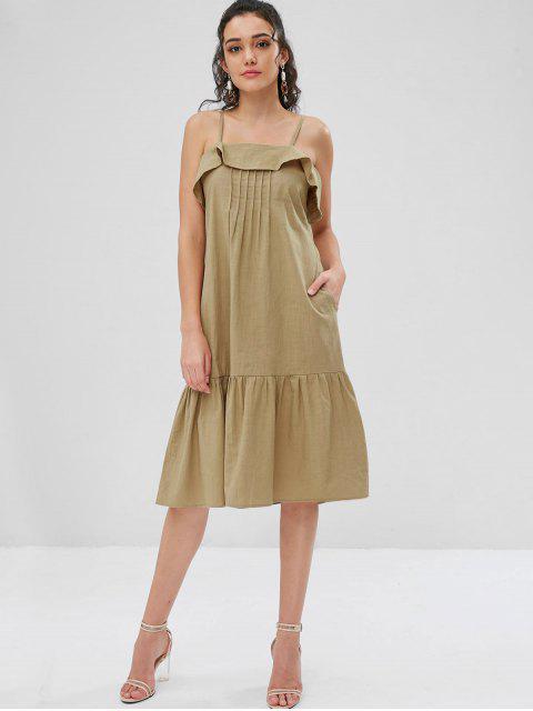 Robe d'Été Mi-Longue à Bretelles Fines avec Volants et Nervures - Vert Sage S Mobile