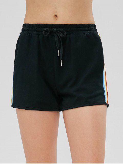 fancy Rainbow Side Stripe High Waisted Shorts - BLACK M Mobile