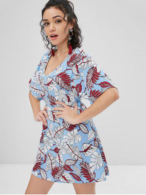 outfit Cut Out Back Leaves Dress - LIGHT SKY BLUE S Mobile