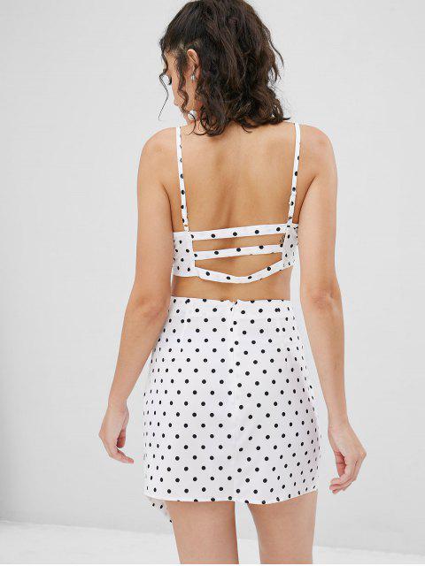 hot Polka Dot Cami Skirt Set - WHITE L Mobile