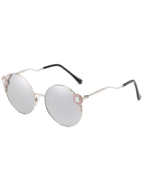 Lunettes Solaires Rondes Anti-Fatigue avec Branches Courbées Incrustées de Perles Fantaisies - Gris argenté  Mobile