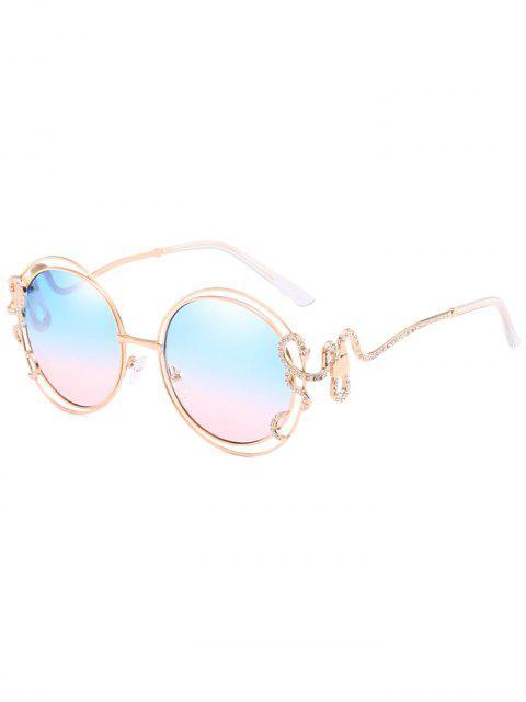 Anti-fatiga Rhinestone con incrustaciones dobladas gafas de sol - Cielo Azul Oscuro  Mobile