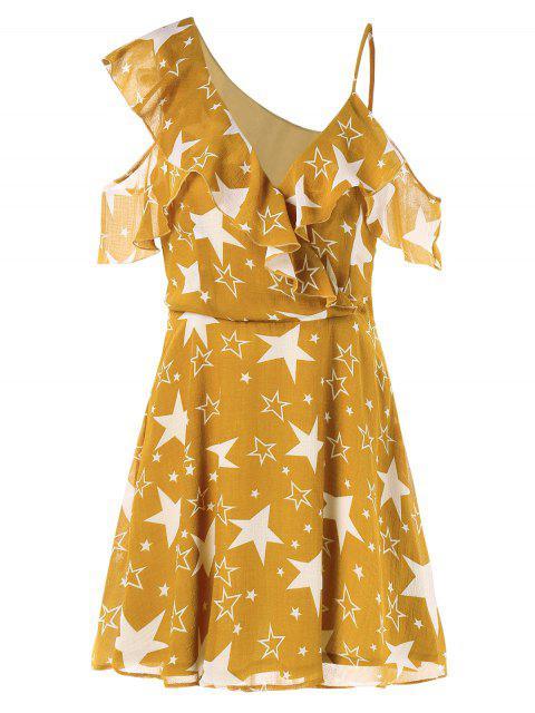 Robe à Volants et Imprimée D'étoiles avec Encolure en V - Jaune d'Abeille M Mobile