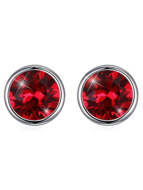 Boucles d'Oreilles Clous Motif Rond en Argent et Cristal Brillant - Vin Rouge  Mobile
