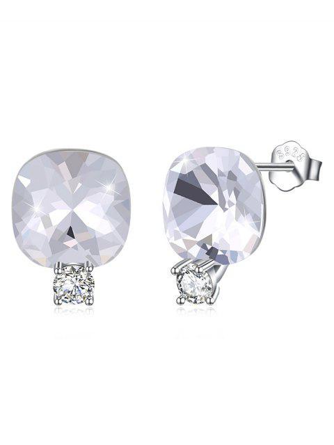 fashion Shiny Rhinestone Square Crystal Silver Stud Earrings - WHITE  Mobile