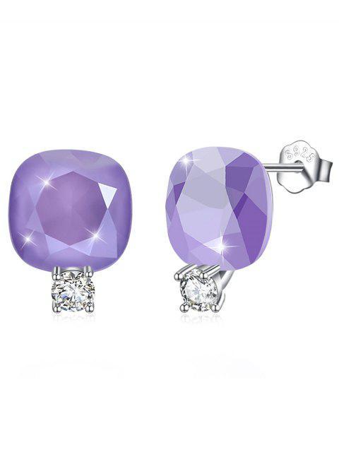 Brillante Rhinestone Square Crystal Silver Stud Pendientes - Púrpura Mediana  Mobile