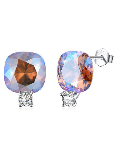 buy Shiny Rhinestone Square Crystal Silver Stud Earrings - SILVER  Mobile