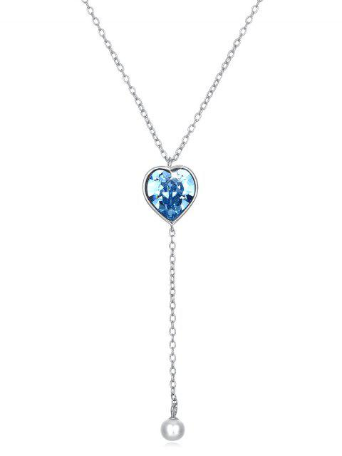 new Crystal Heart Long Chain Pendant Necklace - BUTTERFLY BLUE  Mobile