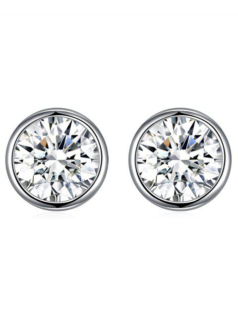 shops Shiny Crystal Silver Round Stud Earrings - WHITE  Mobile