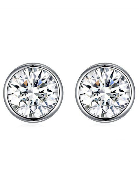 Glänzende Kristall Silber Runde Ohrstecker - Weiß  Mobile