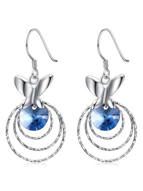 Vintage Kristall Schmetterling Multi Schichten Haken Ohrringe - Ozeanblau  Mobile