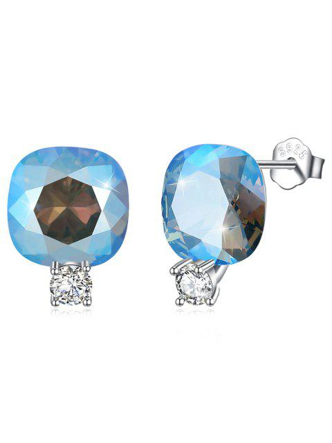 Glänzende Strass Quadrat Crystal Silber Ohrstecker - Helles Blau  Mobile