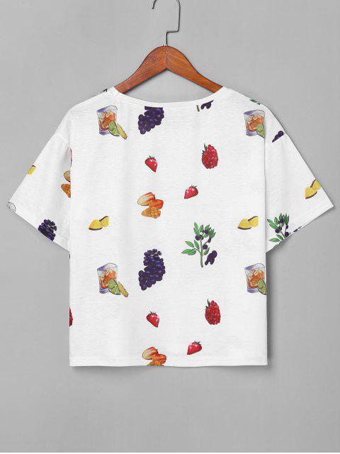 shop Round Neck Fruit Tee - WHITE XL Mobile