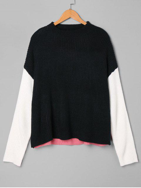 fancy Crew Neck Color Block Sweater - BLACK ONE SIZE Mobile