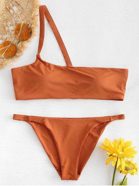 chic String One Shoulder Bikini - RUST L Mobile