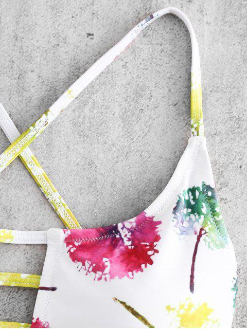 unique Lace-up Leaves Print High Cut Swimsuit - WHITE S Mobile