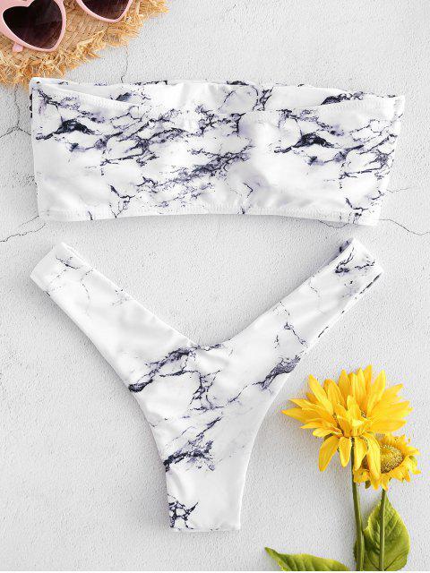women Marble Print Bandeau Bikini - WHITE M Mobile