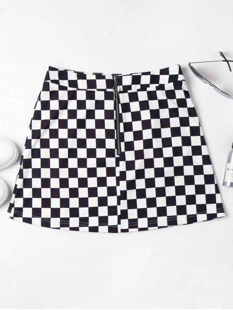 sale Zip Front Checkered Skirt - BLACK L Mobile