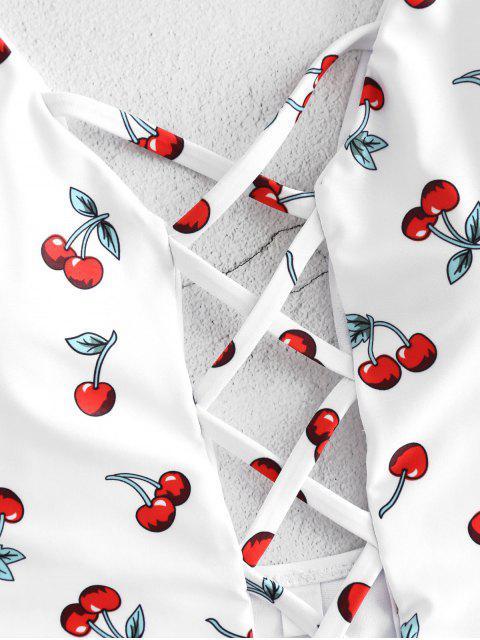women Cherry Criss Cross Backless Swimsuit - WHITE M Mobile