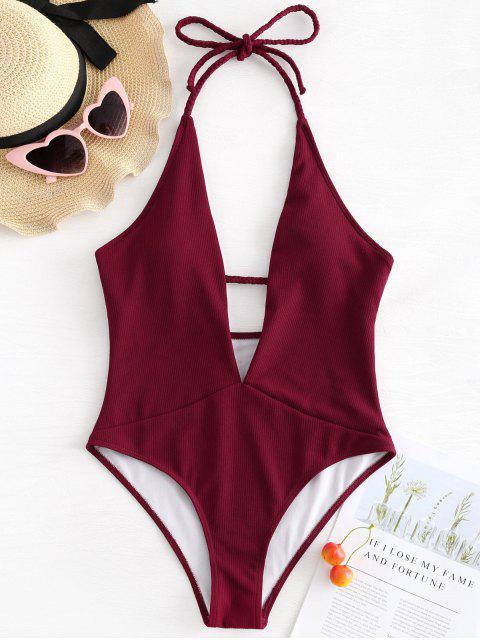 new Ribbed Plunge Neckline Plaited Swimwear - RED WINE L Mobile