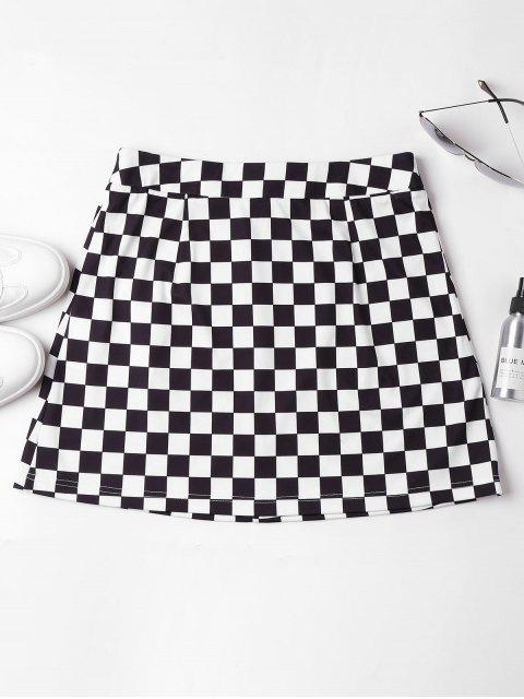 unique Zip Front Checkered Skirt - BLACK S Mobile
