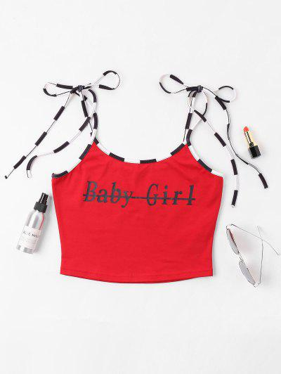 ac362ad4f0d8ad Graphic Letter Crop Cami Top - Red Xl