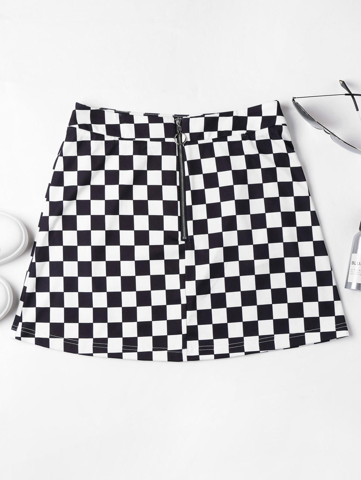 Zip Front Checkered Sk