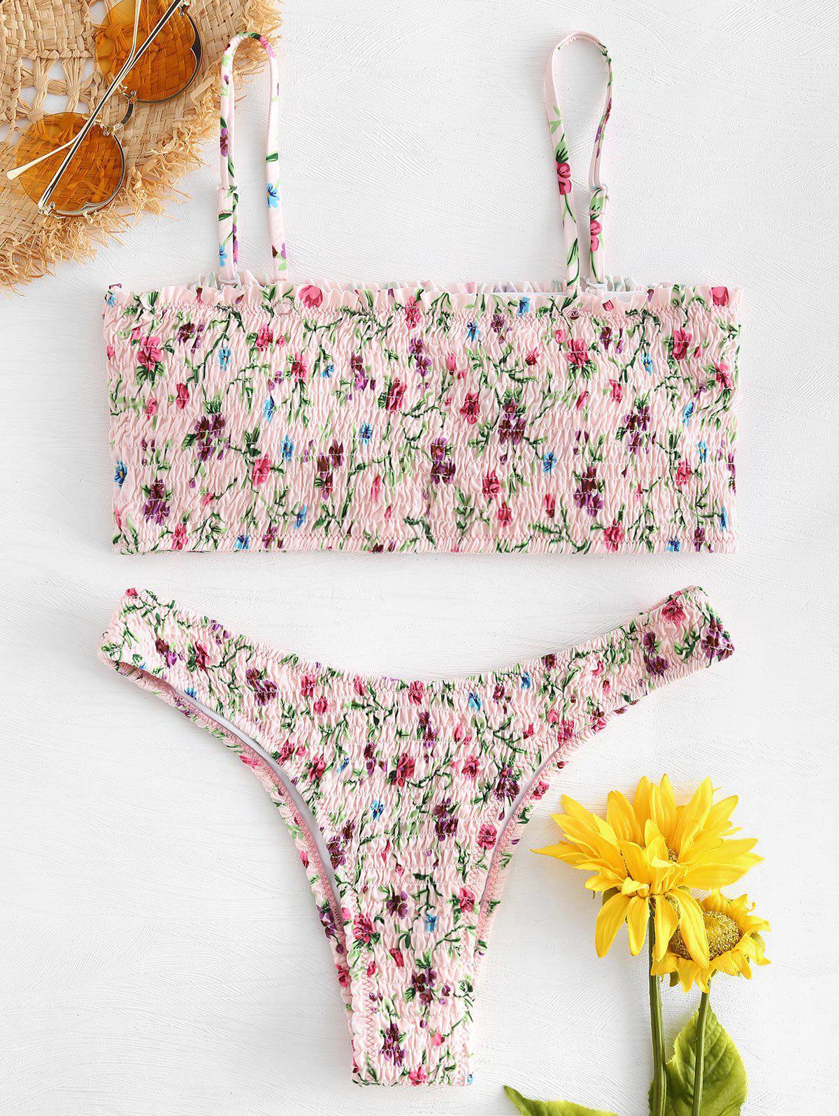 Smocked Floral Bikini
