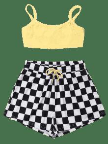 A Cortos Cuadros Cami Pantalones Conjunto L Amarillo De EqwInt