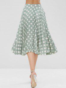 97f747b2e7 26% OFF] 2019 Chiffon Pleated Polka Dot Midi Skirt In GREEN PEAS | ZAFUL