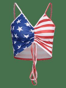 Top Cuello Americana Multicolor Cami Bandera M Camisero Con ZXwx7P