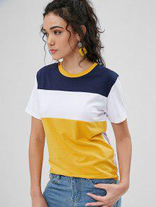 En 243;n Con Dorado Redondo Camiseta Cuello M Marr Contraste tYPqY6Uw