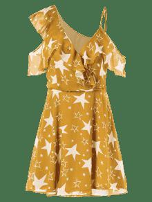 Amarilla En De V M Cuello Abeja Con Volantes De Vestido FPpWIY0q