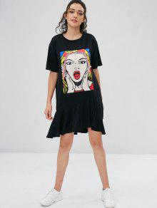 96453b0ae 30% OFF] 2019 Beauty Print Graphic Oversized T-Shirt Dress In BLACK ...