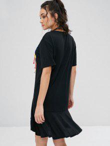 De Belleza Con Vestido o Tama L Estampado Gran Negro De Estampado wnTpg