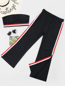 Stripes Patched Slit Pants Set - أسود S
