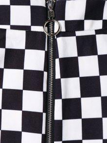 7bb9326747c6 26% OFF] [HOT] 2019 Zip Front Checkered Skirt In BLACK | ZAFUL