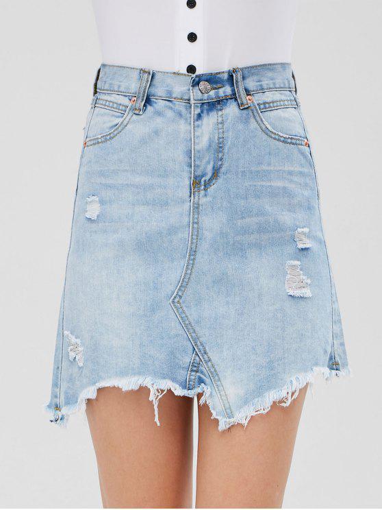 Distressed Denim Minirock - Jeans Blau XL