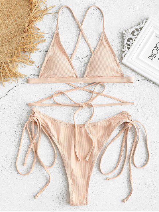 lady Lace-up Ribbed High Leg Bikini Set - PINK BUBBLEGUM S