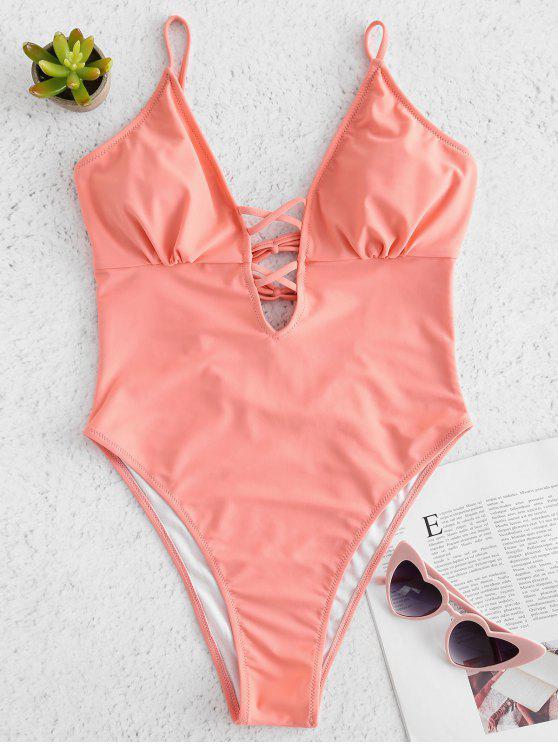 Strappy السامي قص قطعة واحدة ملابس السباحة - غامض الوردة L