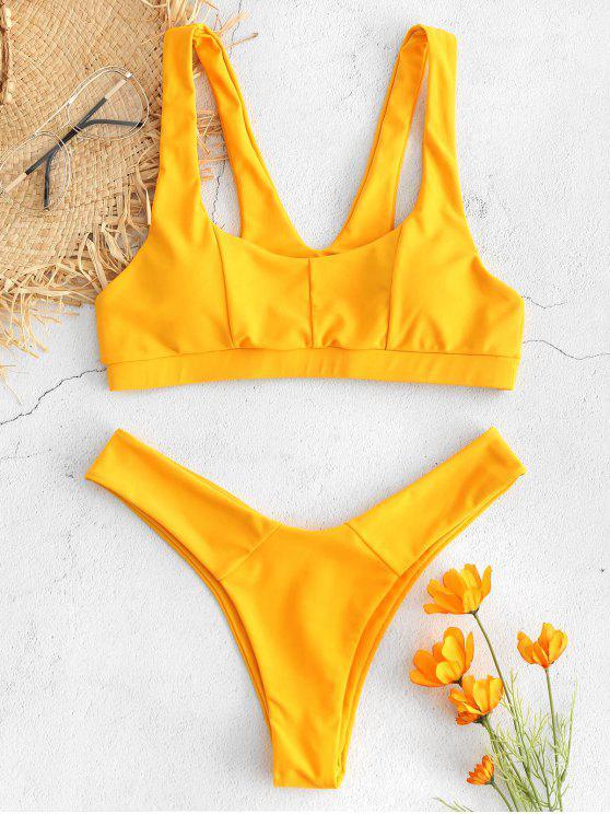 fashion V-back Tank Bikini Set - BRIGHT YELLOW M