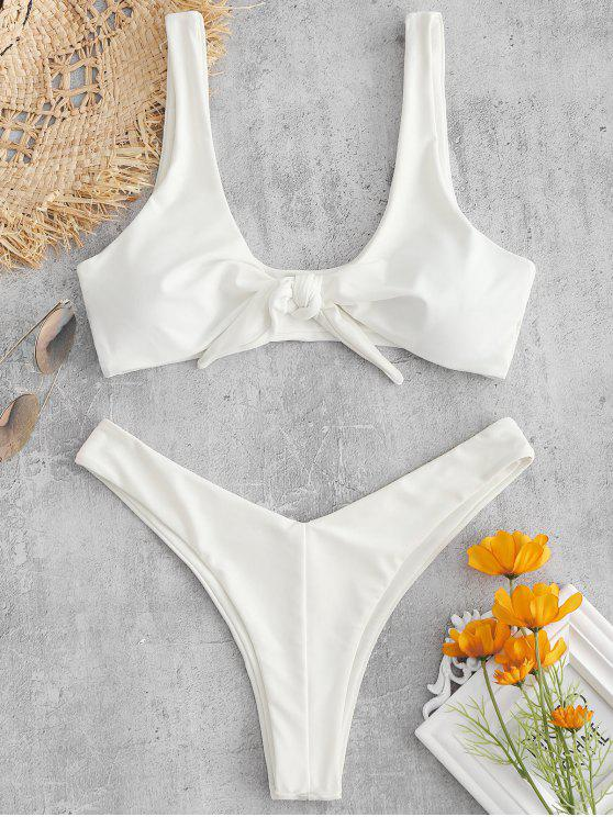 affordable ZAFUL Tie Front High Leg Tank Bikini Swimsuit - WHITE S