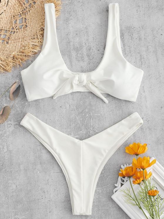 womens ZAFUL Tie Front High Leg Tank Bikini Swimsuit - WHITE L